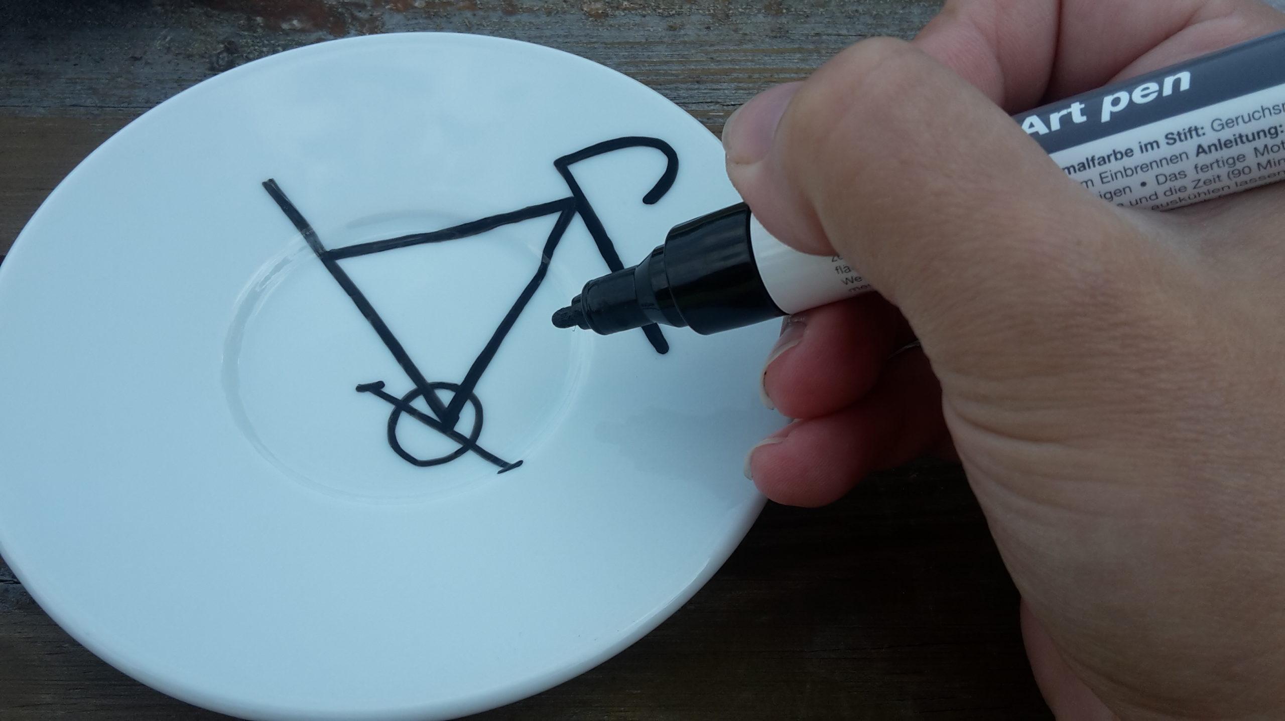 hand painted mugs bike saucer