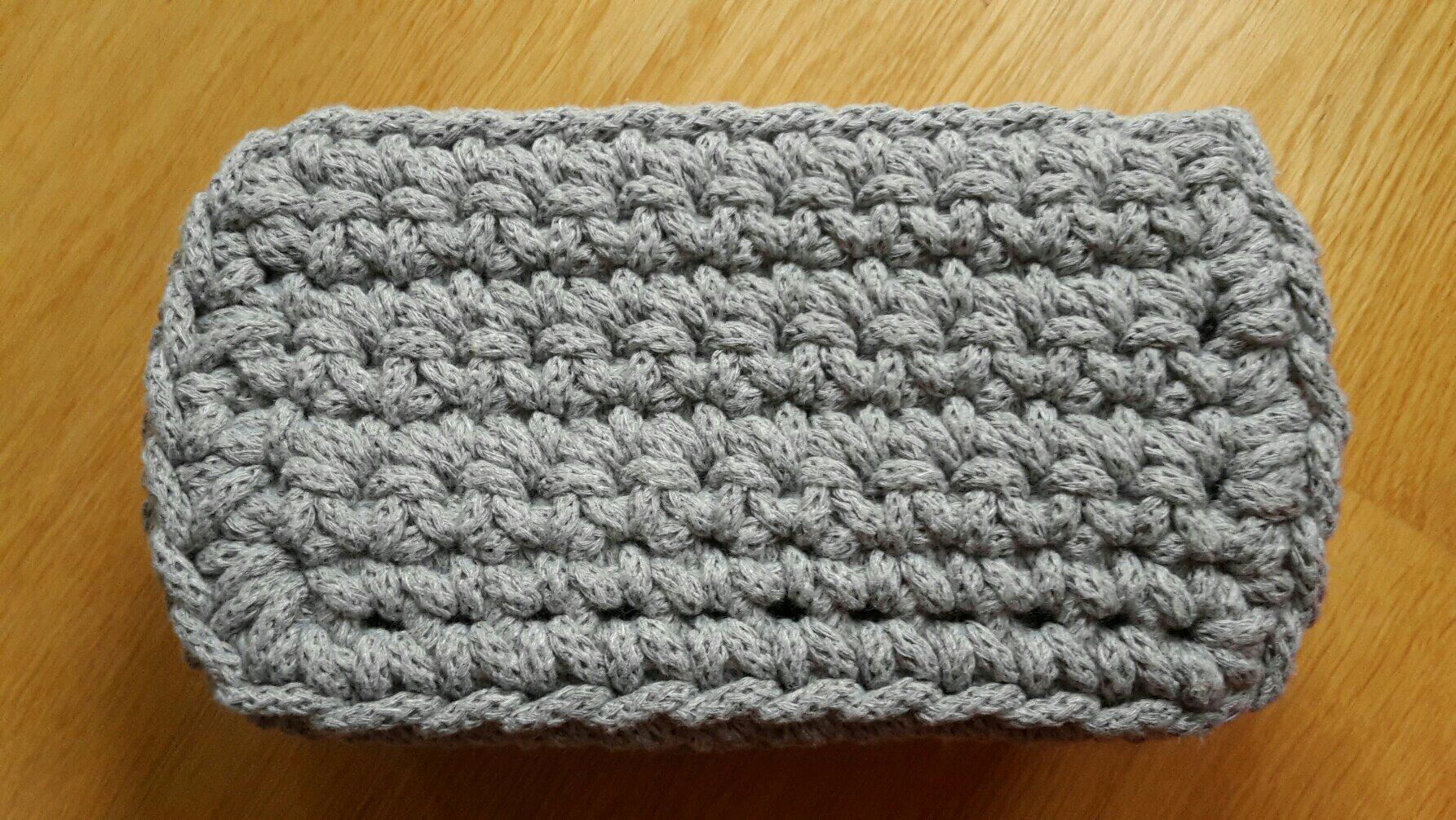 crochet basket rectangle bottom