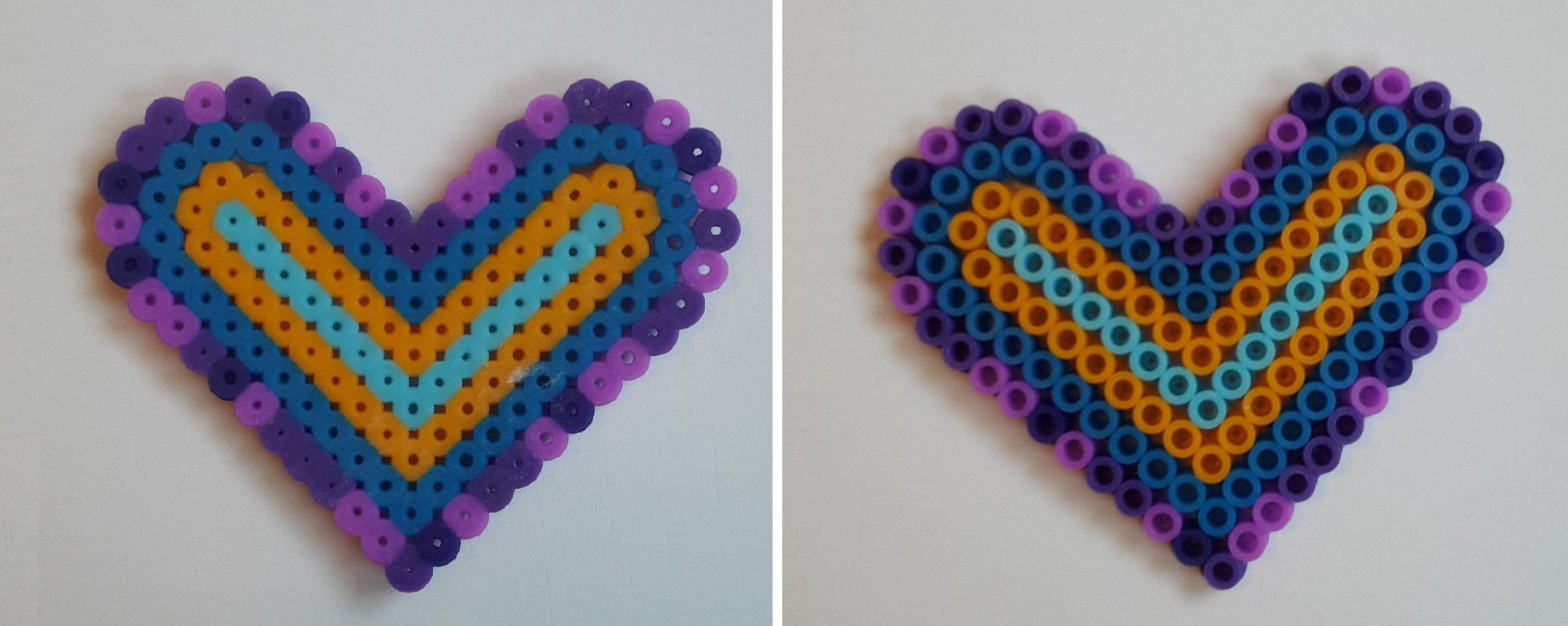 hama beads heart purple
