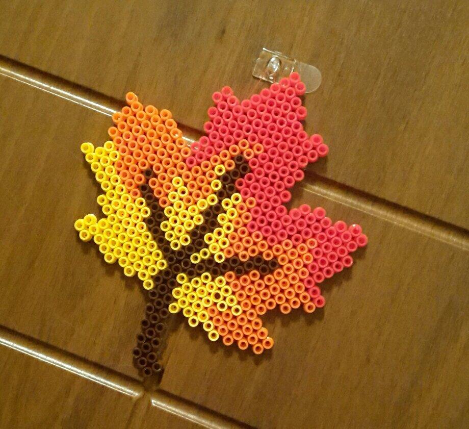 hama beads autumn leaf