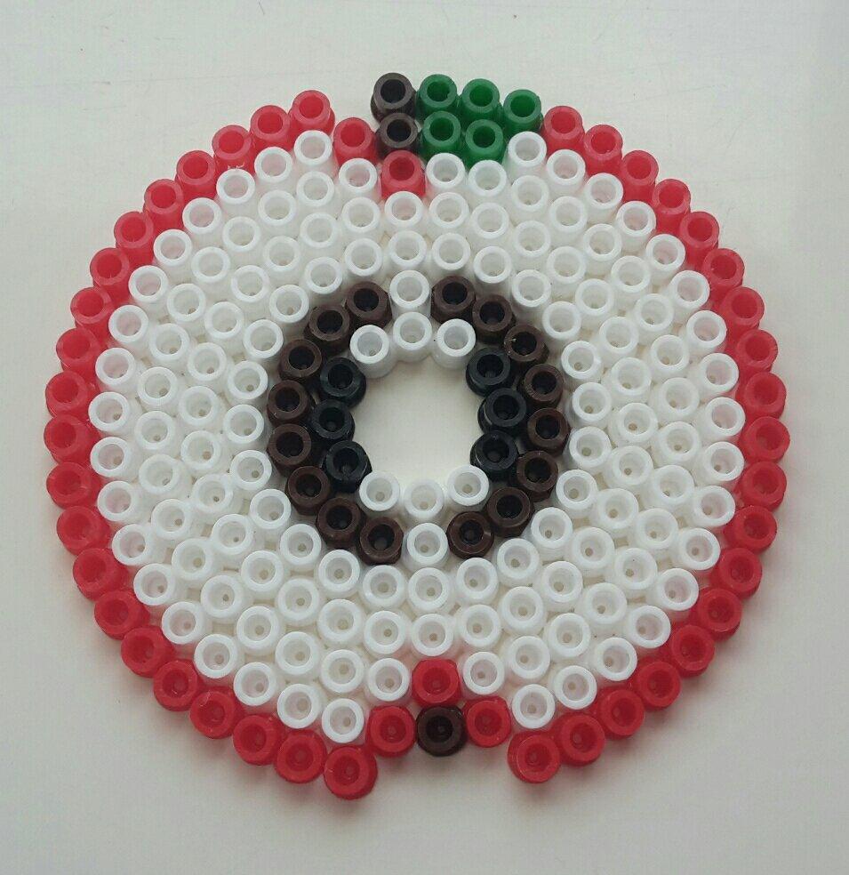 hama beads coaster apple