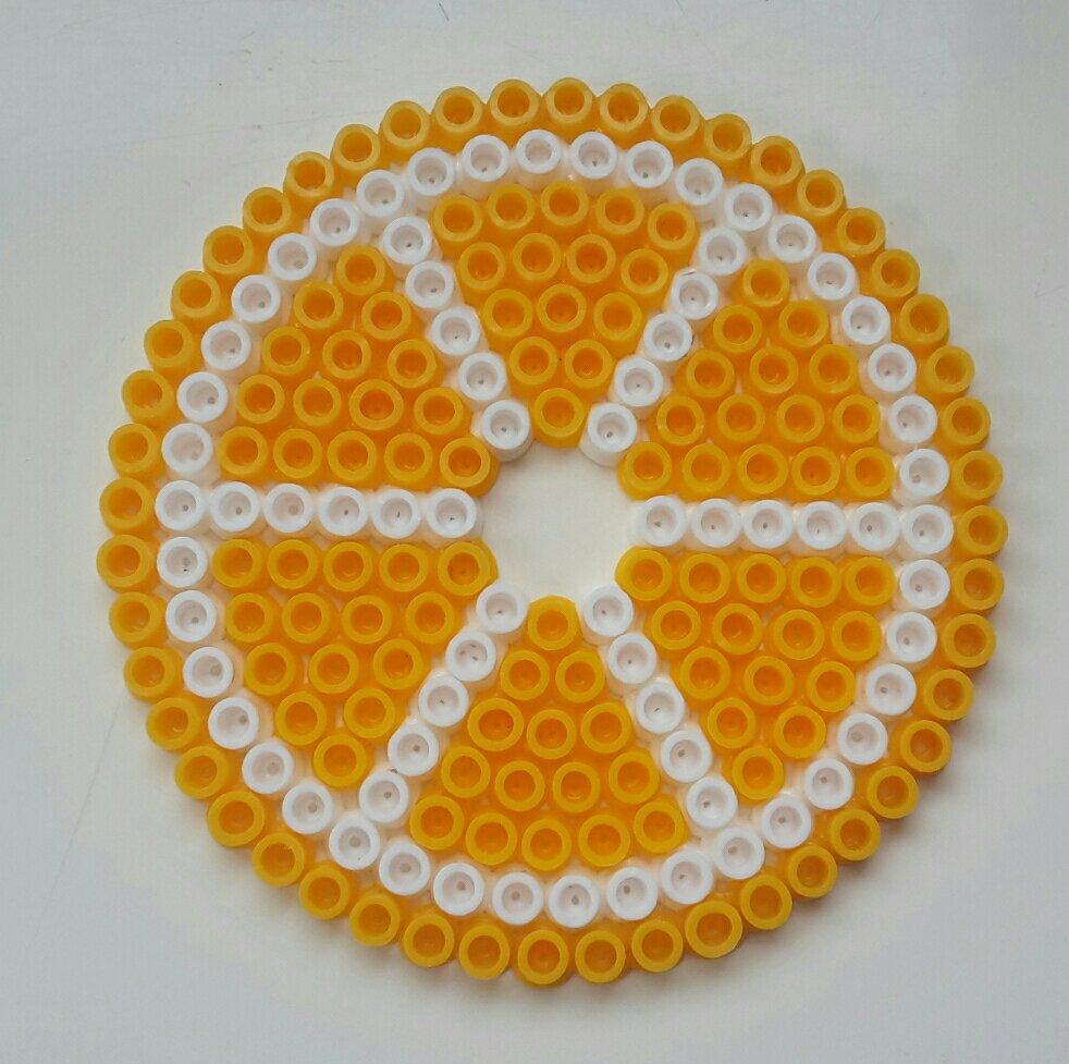 hama beads coaster lemon