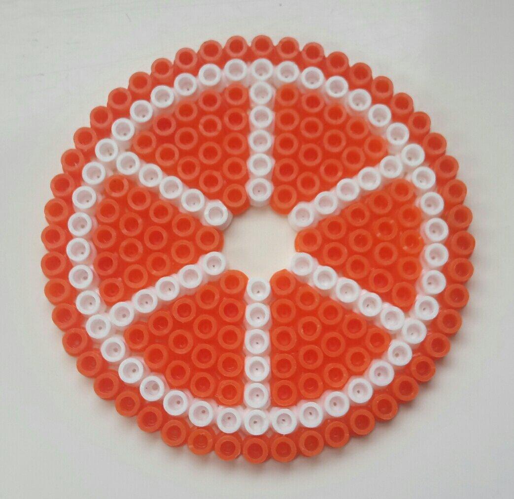 hama beads coaster orange