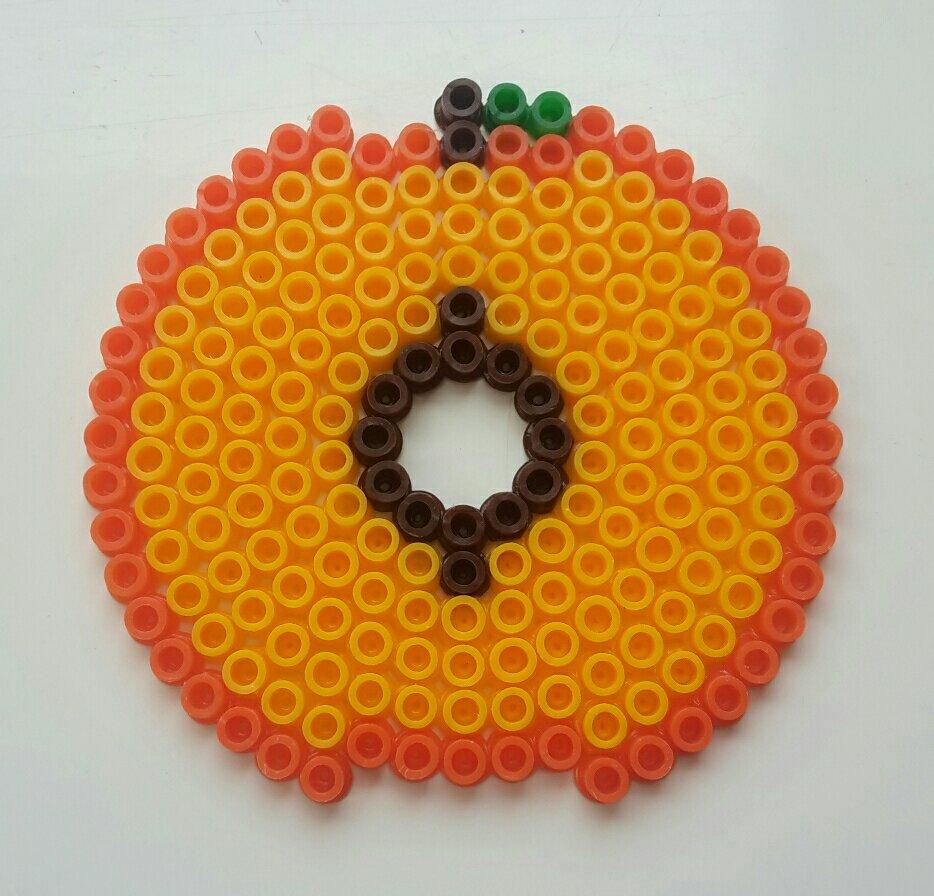hama beads coaster peach