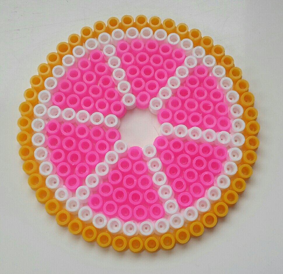 hama beads coaster pink grapefruit