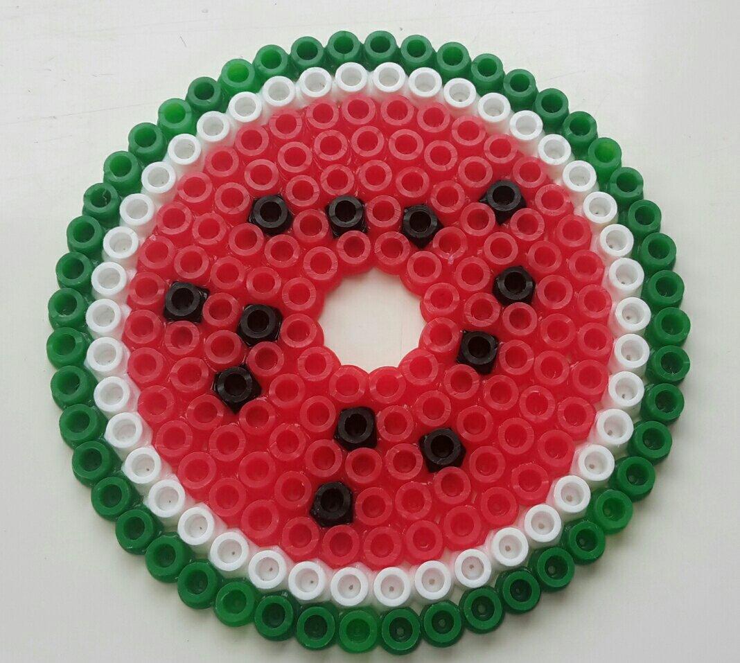 hama beads coaster watermelon