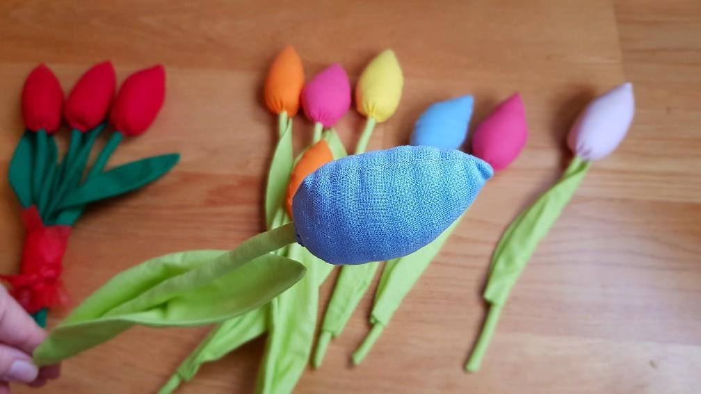 pastel tulips blue closeup