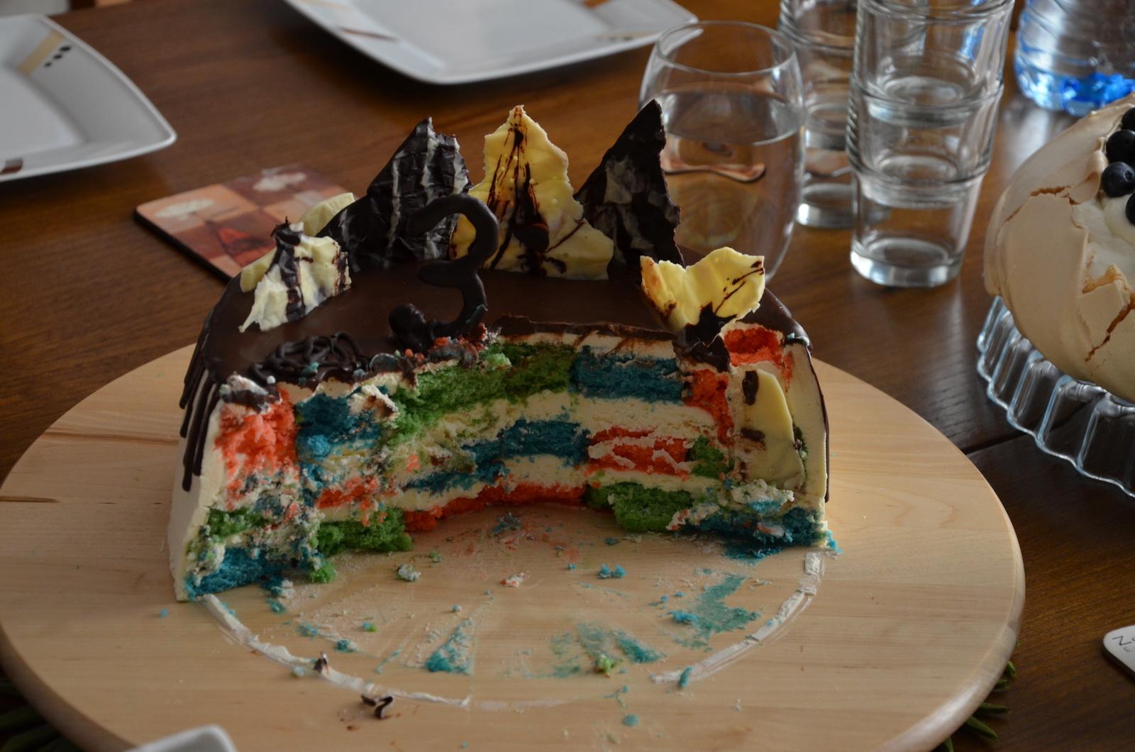 checkerboard cake half