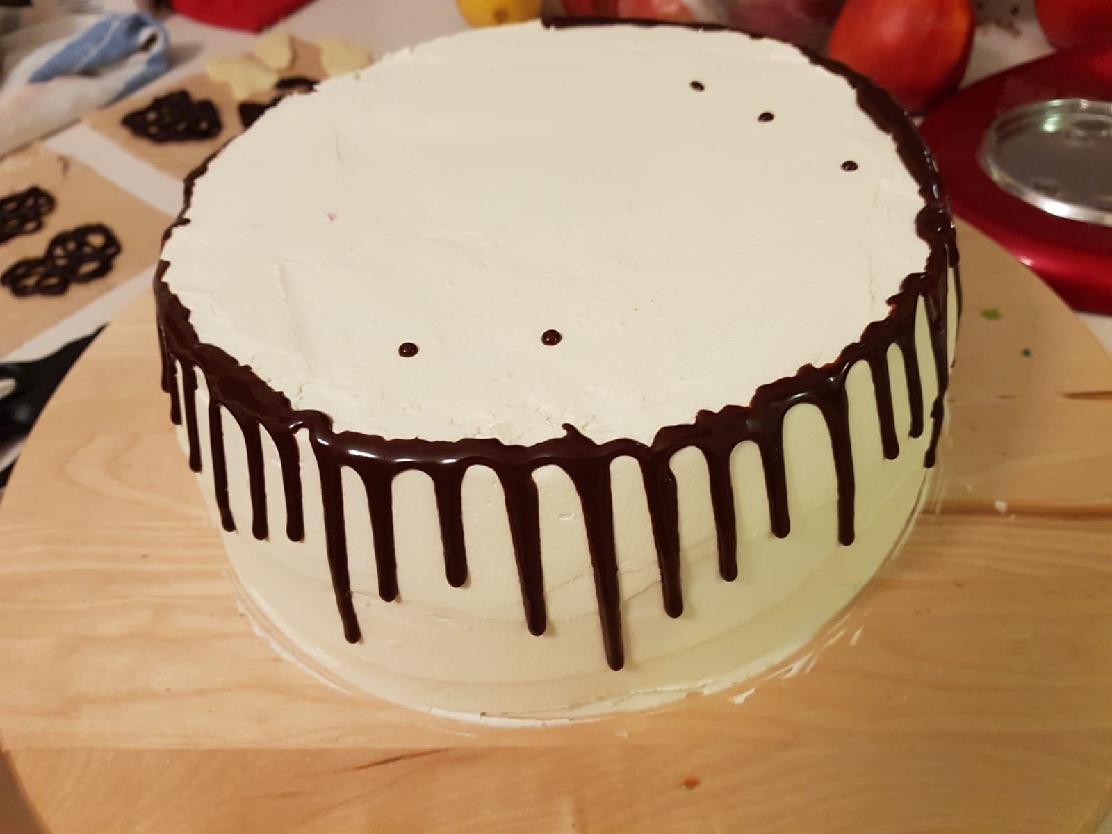 checkerboard drip cake around