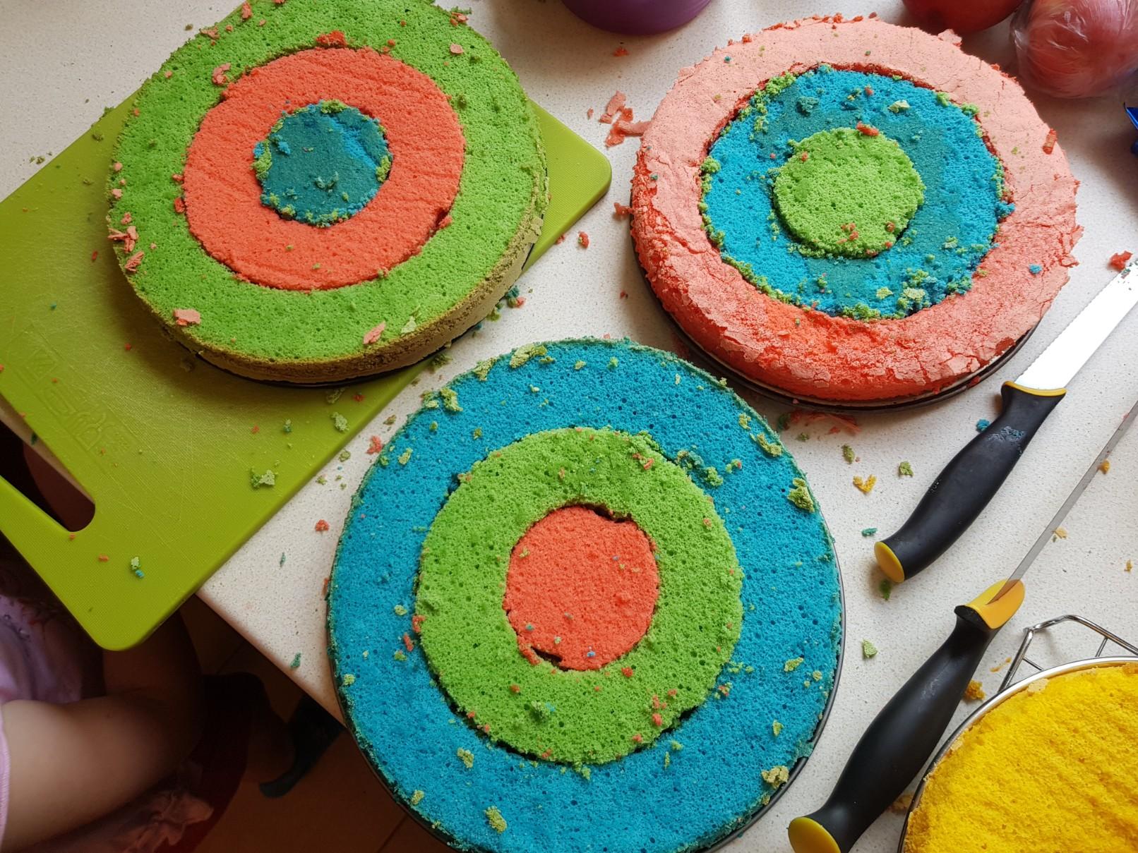 checkerboard drip cake colorful circles