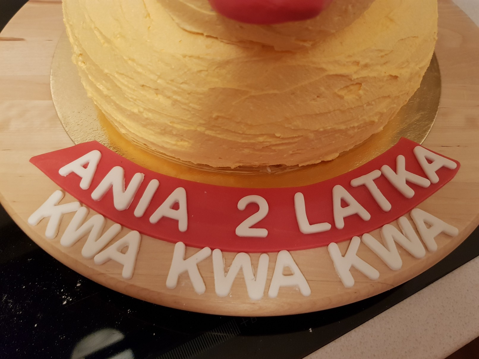 duckie birthday cake sign closeup