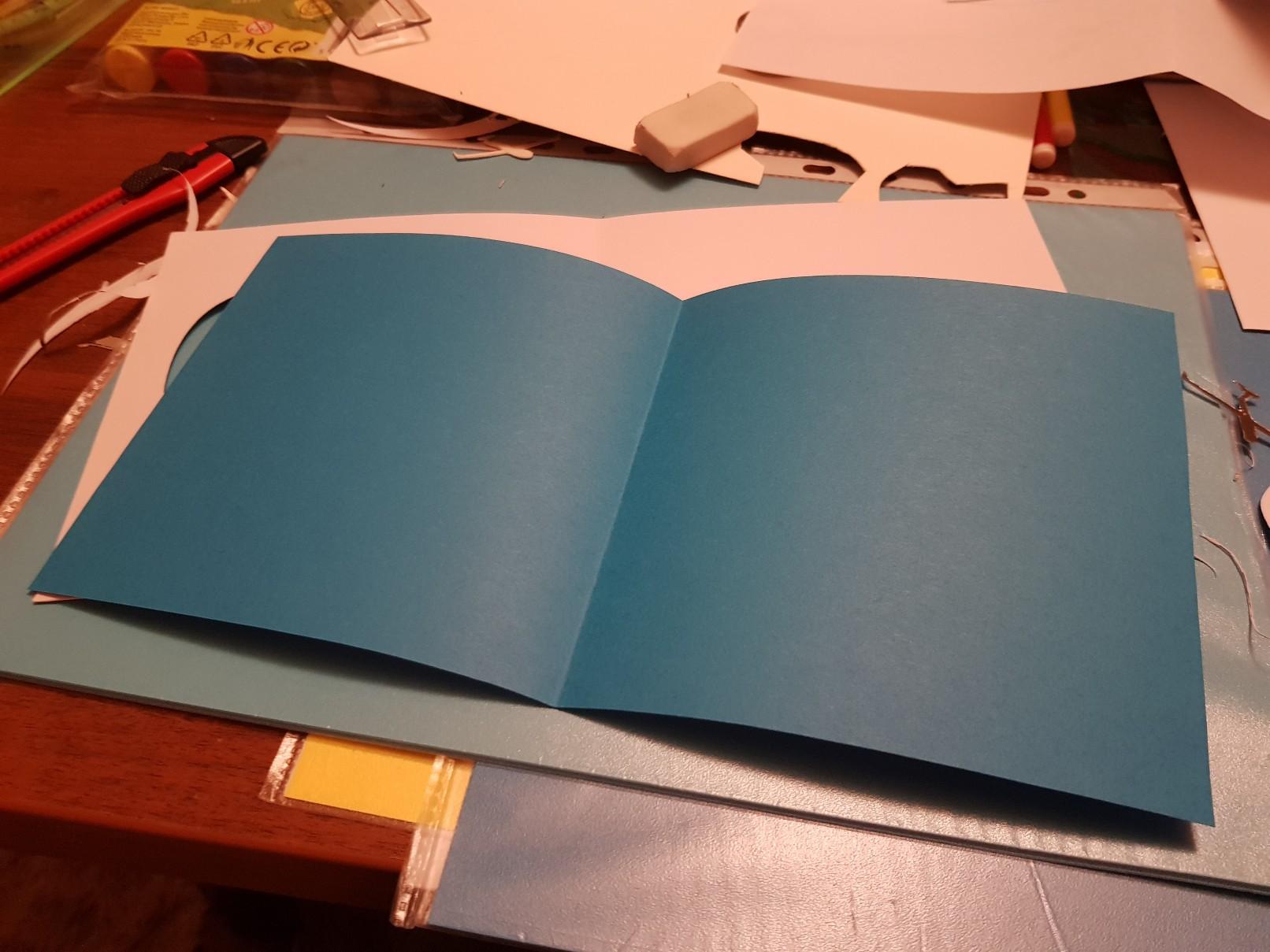 glider heart wedding card blue inside