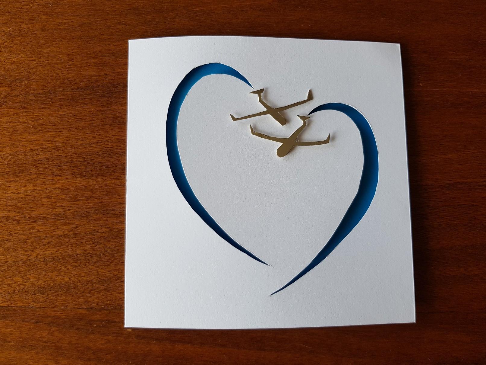 glider heart wedding card closed