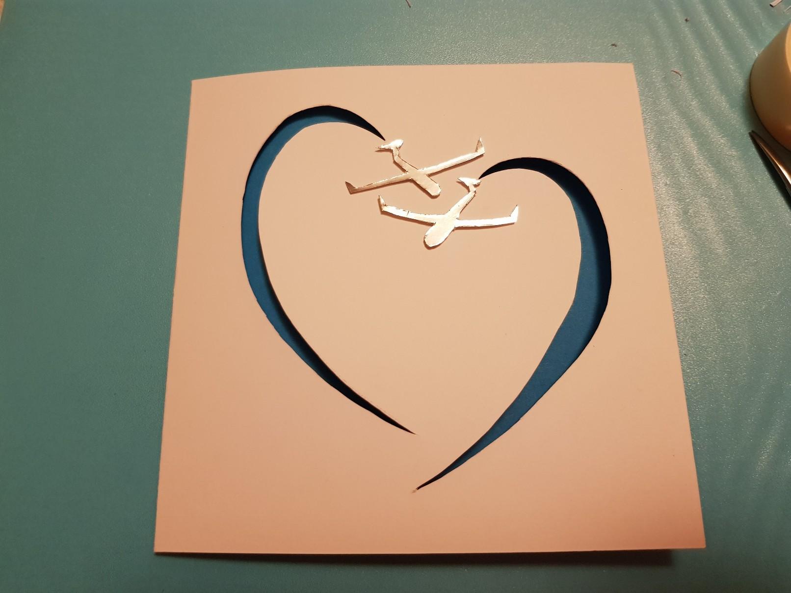 glider heart wedding card ready