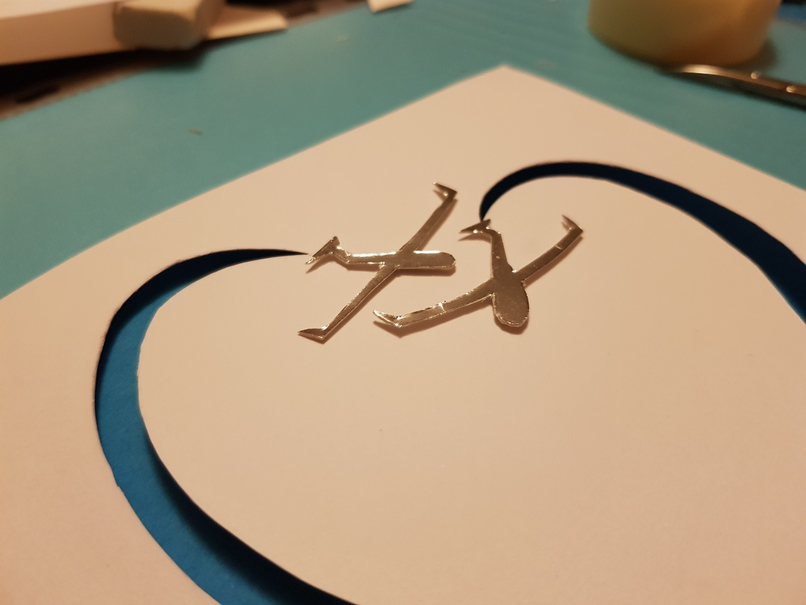 glider heart wedding card side