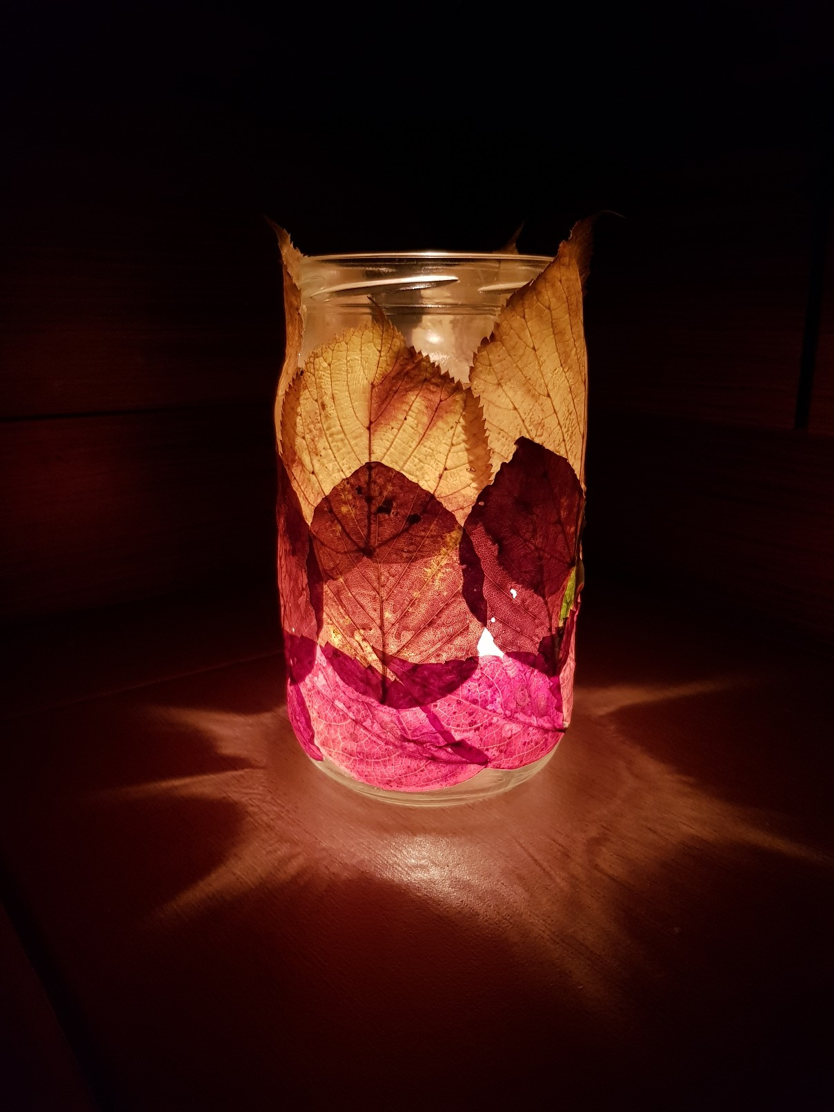 autumn leaves candle lamp lit effect