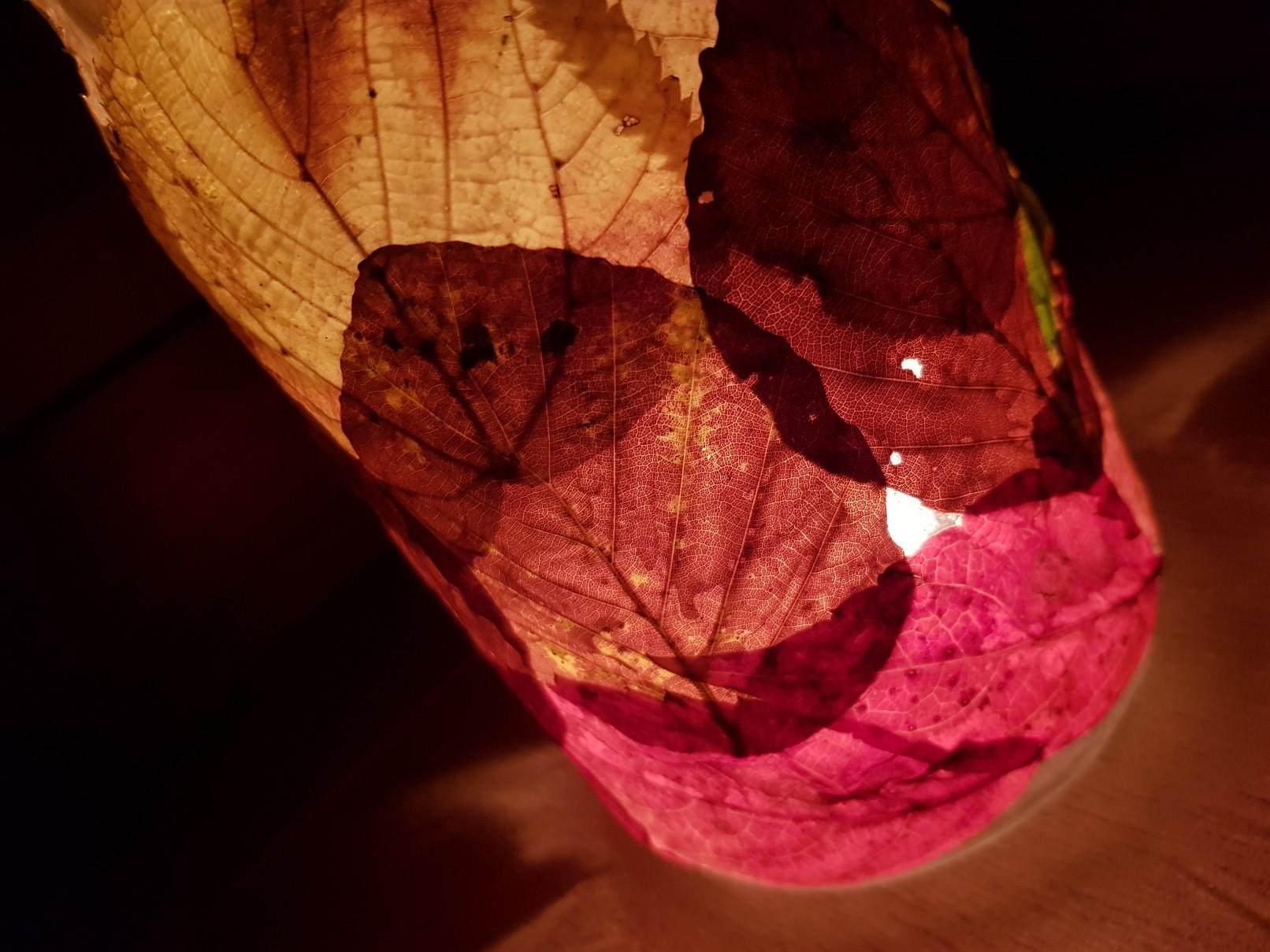 autumn leaves candle lamp lit tilt