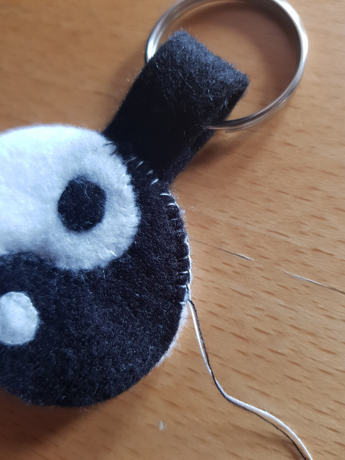 yin yang felt keychain joining layers