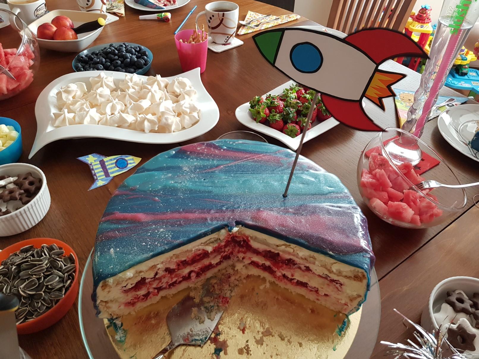 space birthday cake open