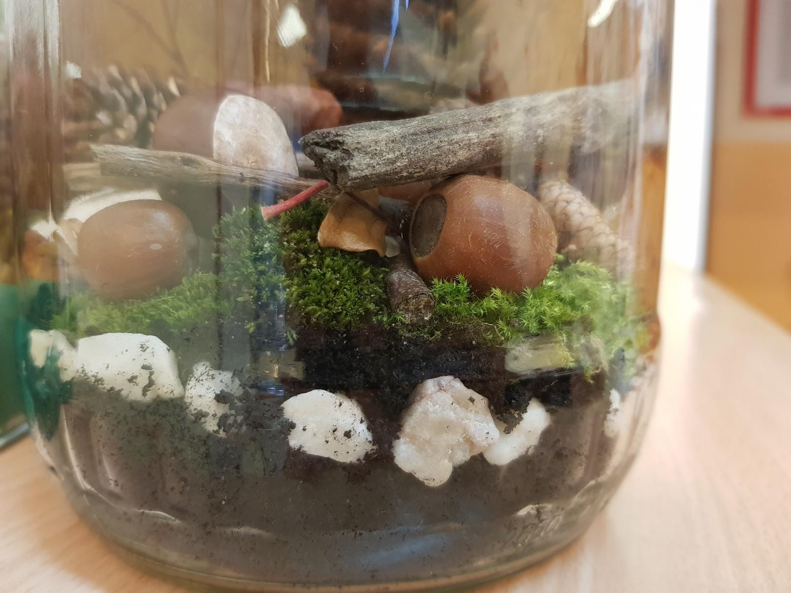autumn decoration jar closeup