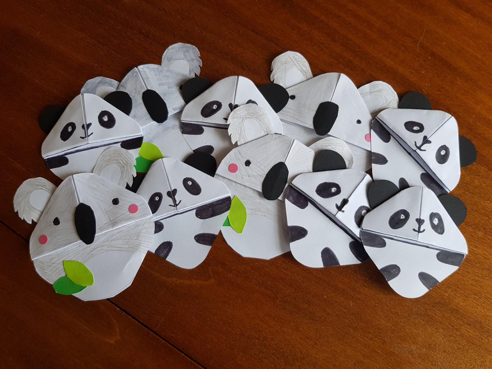 corner bookmark panda koala army
