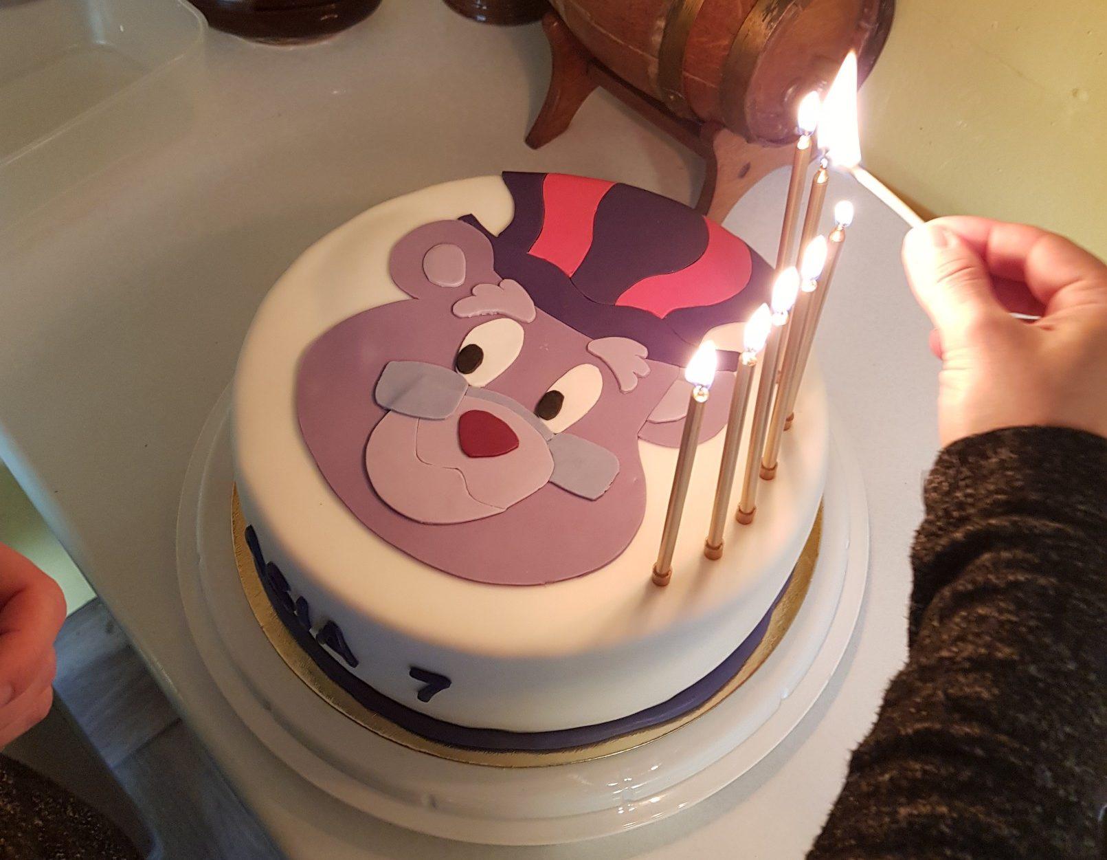 gummi bears birthday cake candles lit
