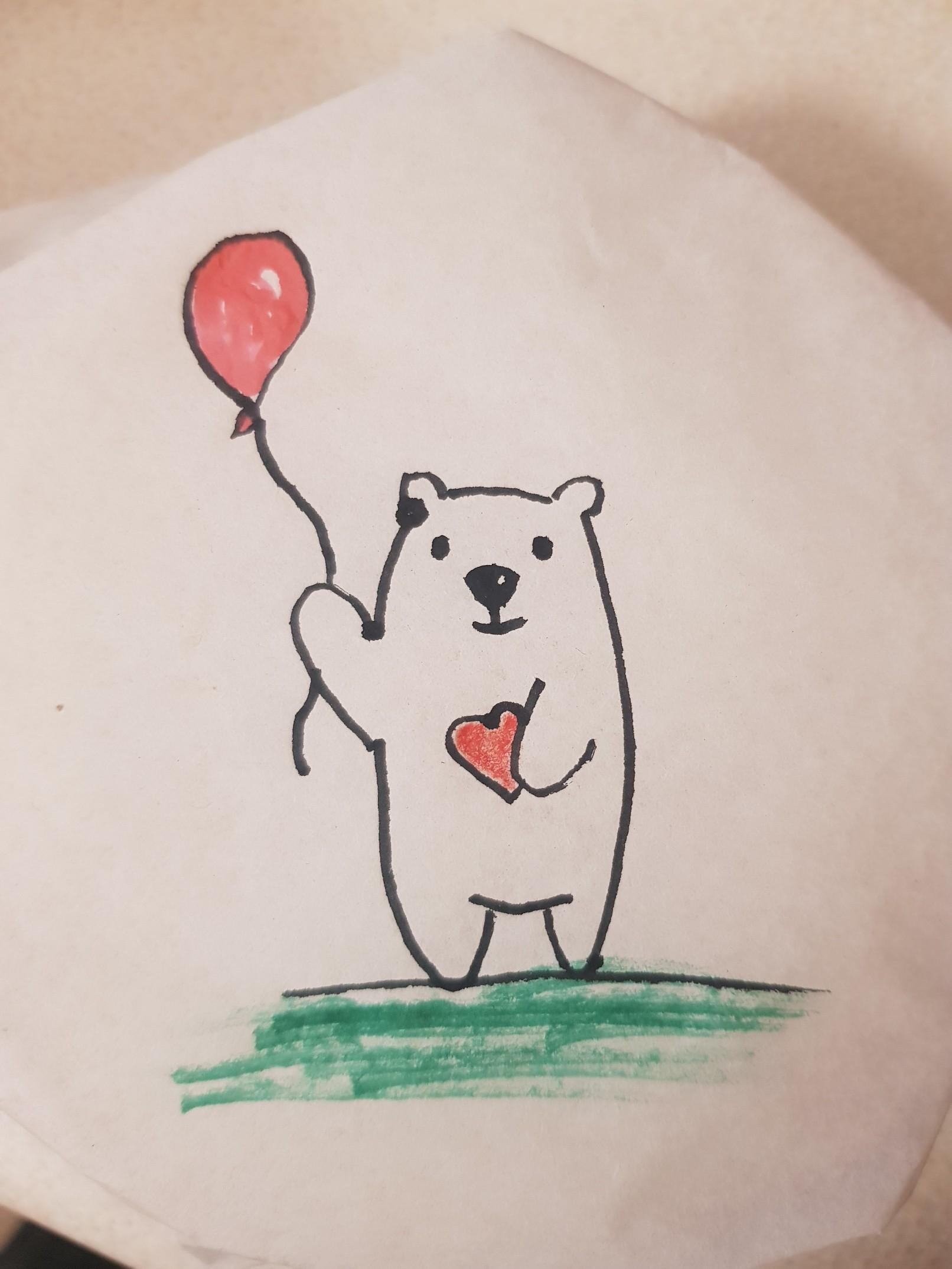 lunchbox art bear ballooon