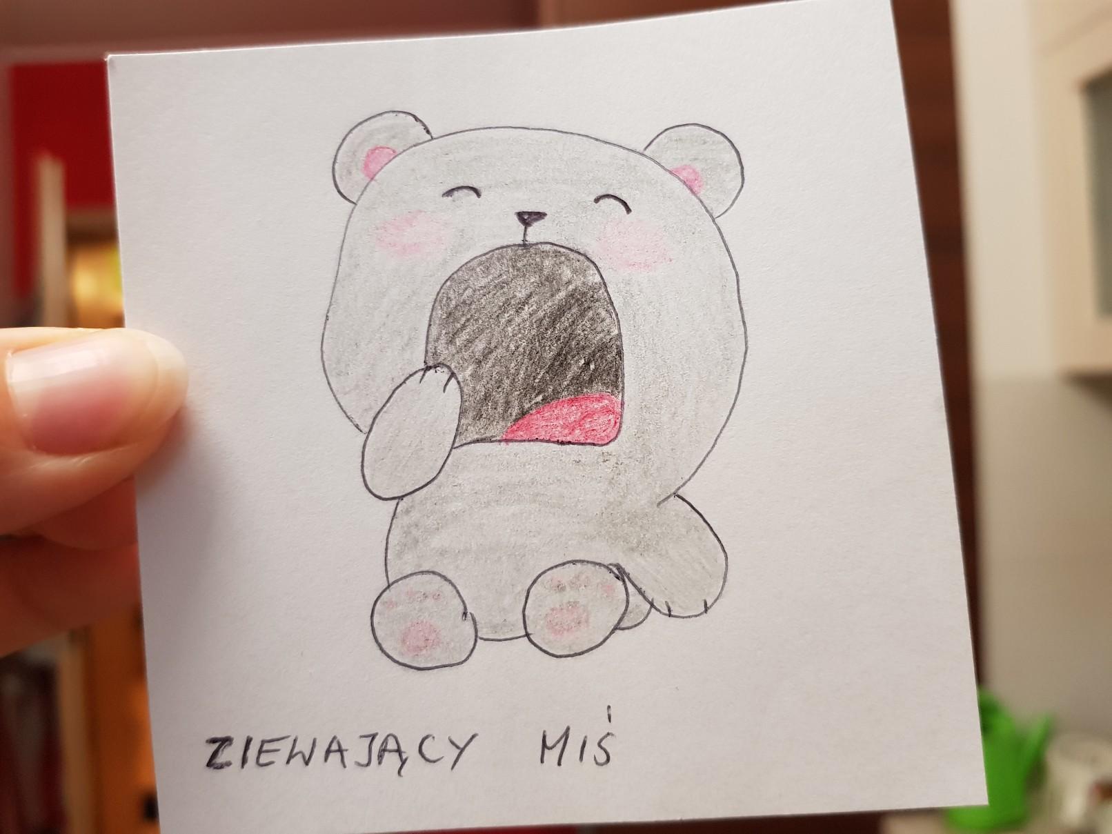 lunchbox art yawning bear