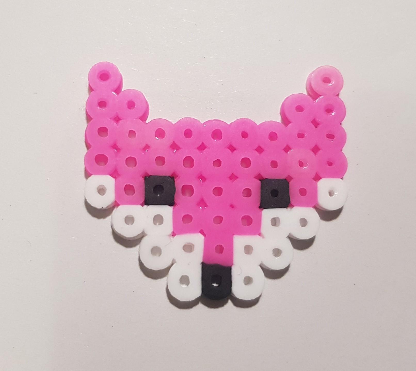 hama beads pink fox