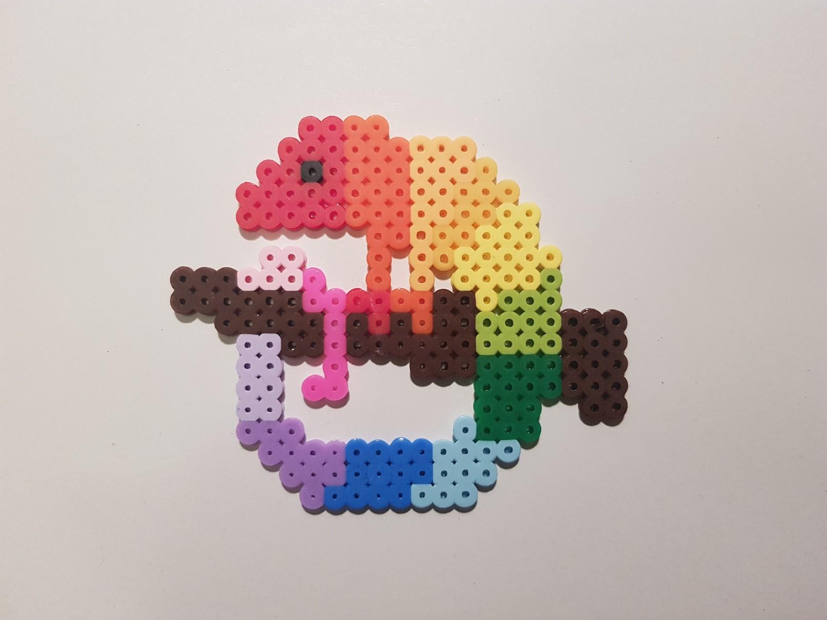 hama beads rainbow chameleon