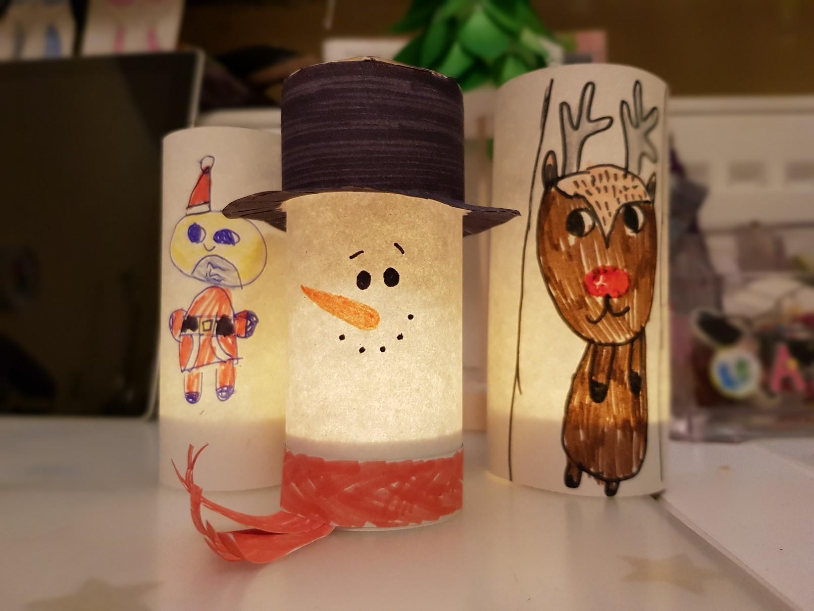 snowman luminary santa rudolph lit