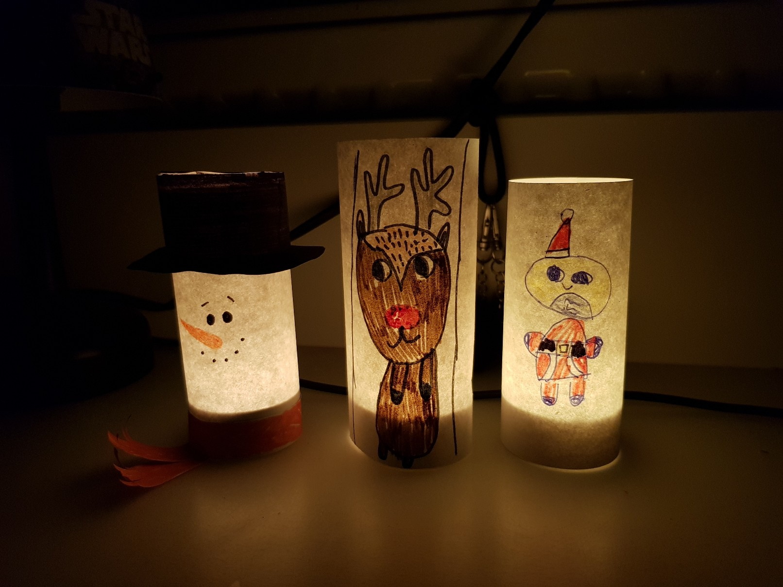snowman paper luminary rudolph santa