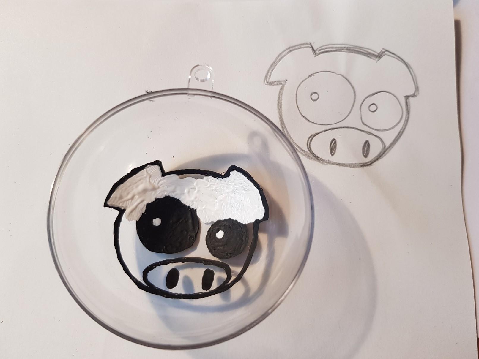 subaru rally pig glitter bauble painting