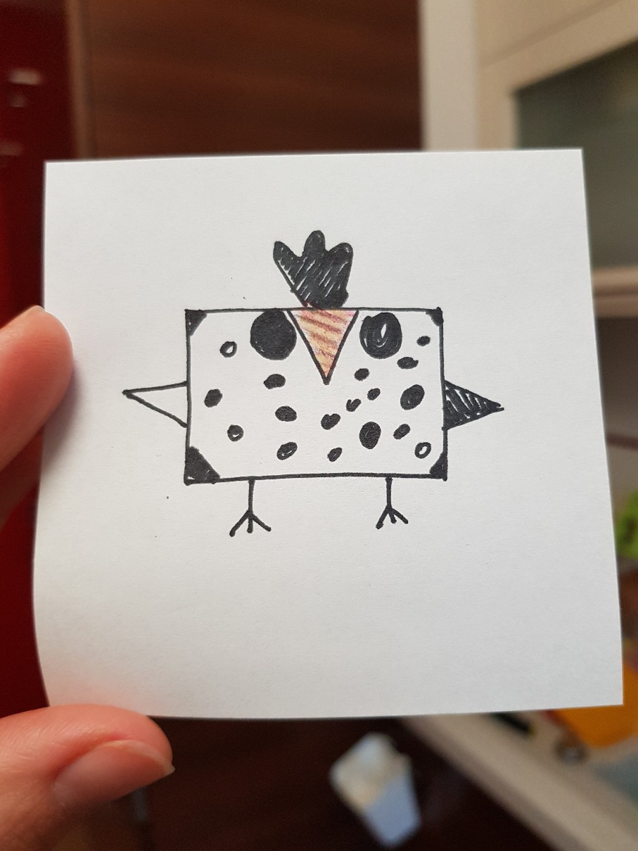 lunchbox art square bird