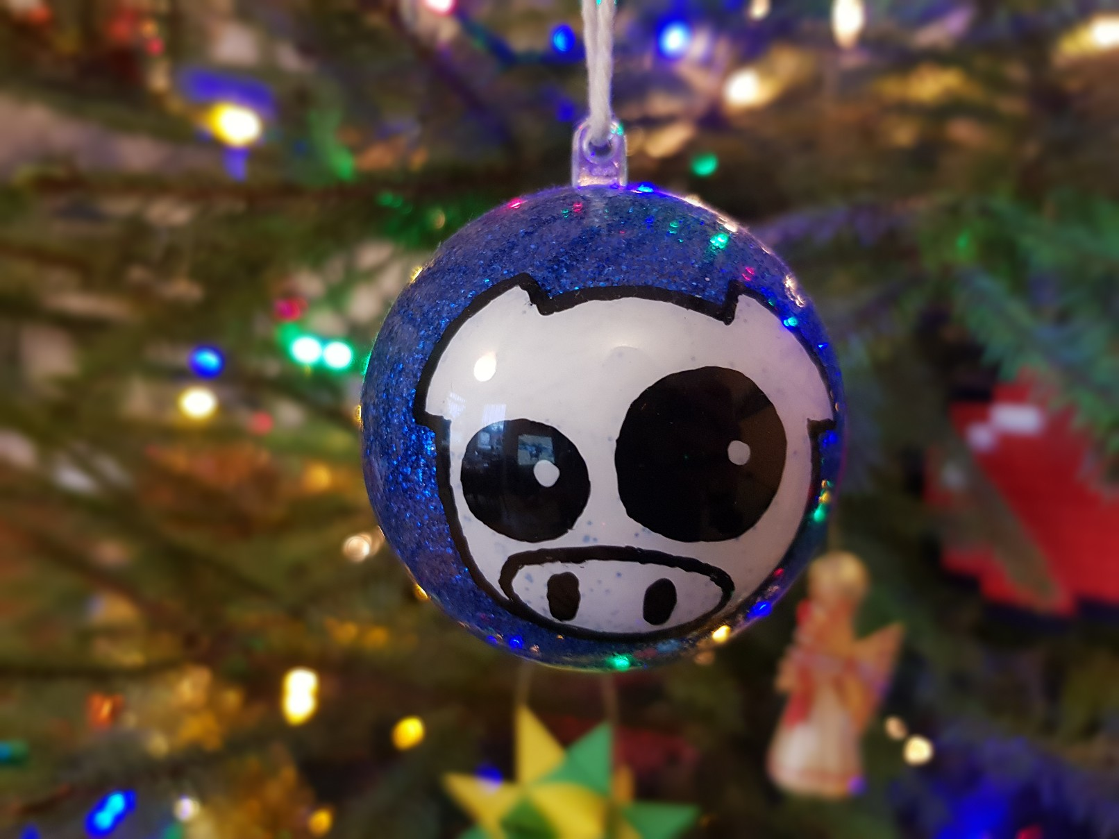 subaru rally pig glitter bauble front