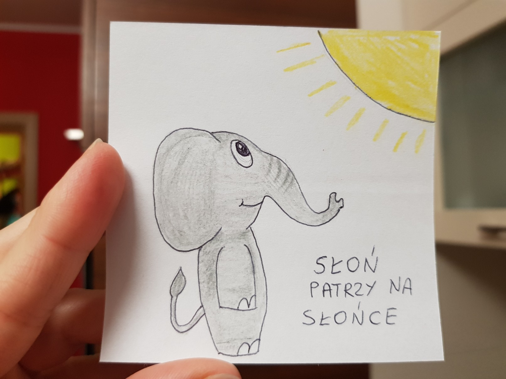 lunchbox art elephant looking at the sun