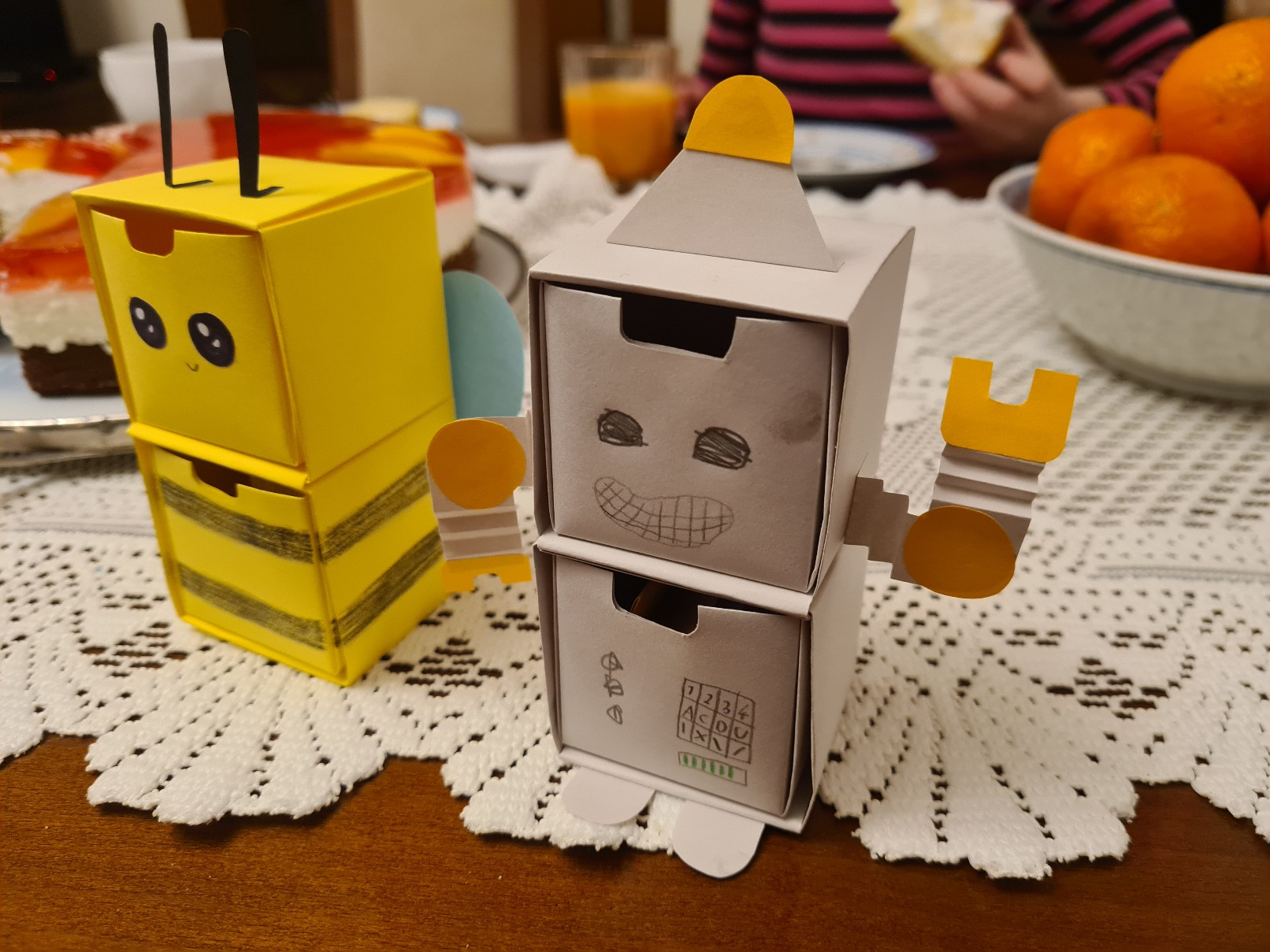 origami paper drawers bee robot