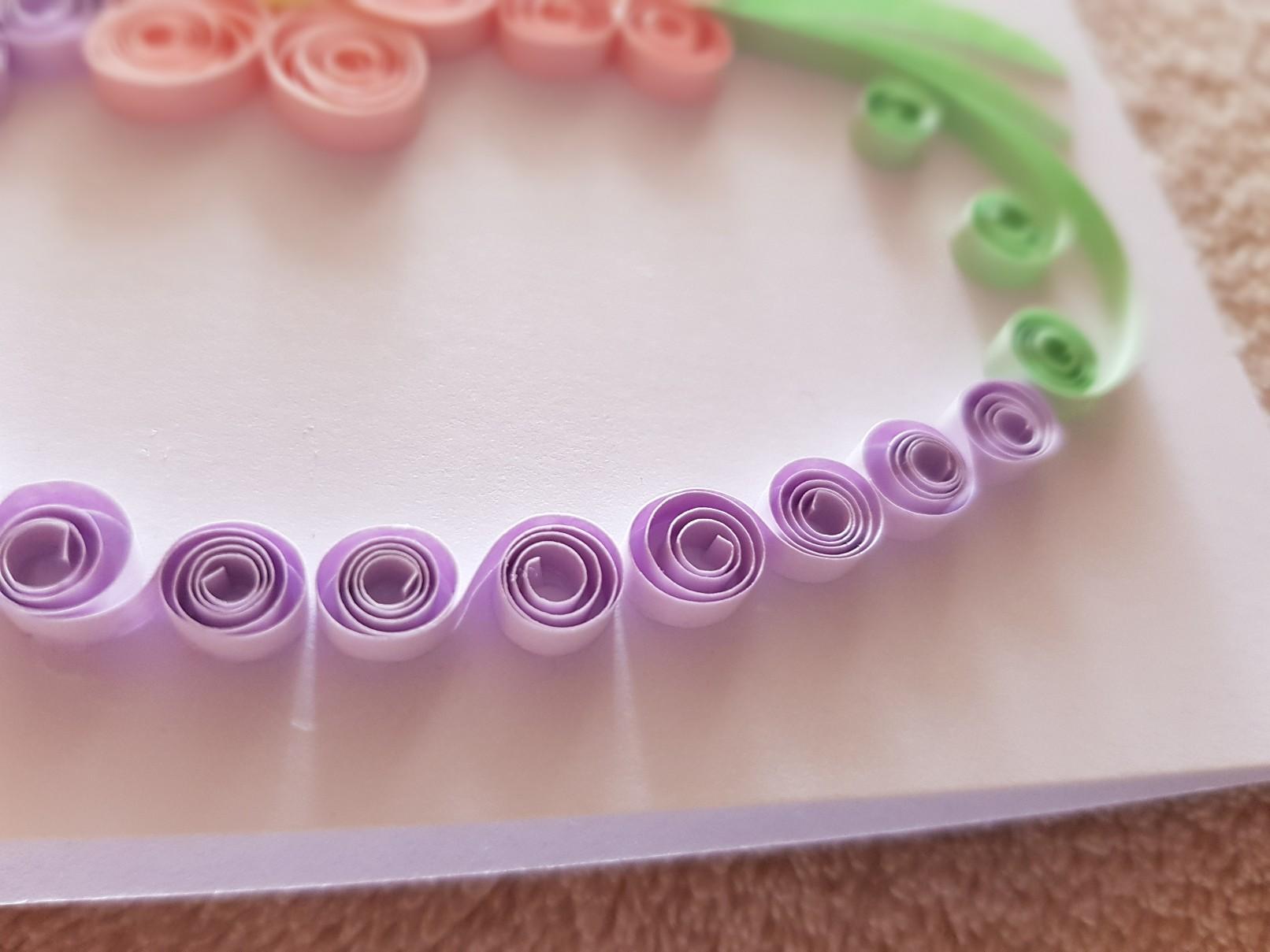 qulling easter card violet swirls